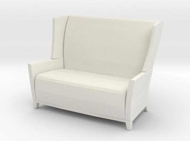 Aspen Wing Back Settee 1-24 in White Natural Versatile Plastic