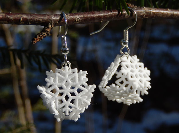 Snowflake Earrings 1 in White Strong & Flexible