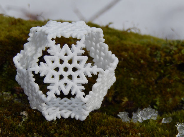 Octahedral Snowflakes 2 in White Strong & Flexible