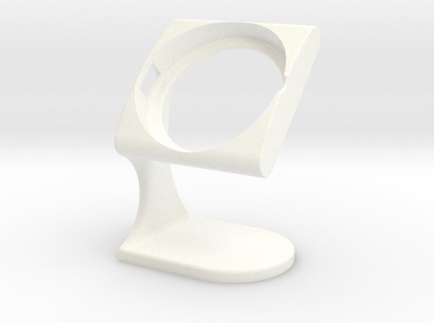 LG G Watch R Desktopstand(New-Design) in White Processed Versatile Plastic
