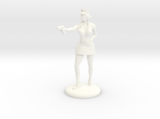 Lady Cop pointing her gun - 25mm version in White Processed Versatile Plastic