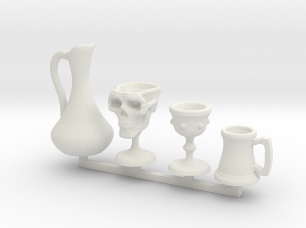 Drinkware -1:24 or Half Scale in White Strong & Flexible