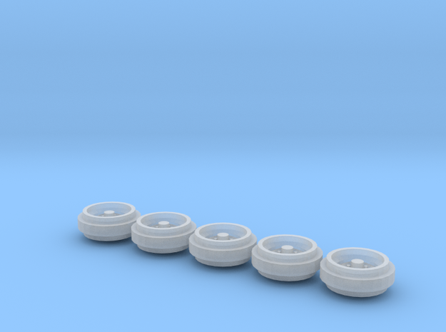 1/64 Pickup Truck Rims 60s & 70s Style 1 Set in Frosted Ultra Detail