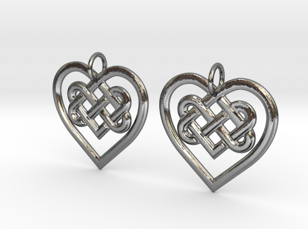 Celtic Heart earrings in Polished Silver