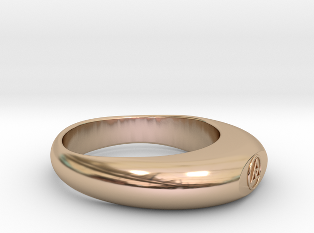 Streamlined Triangle Ring Ø0.757 inch/Ø19.22mm in 14k Rose Gold Plated Brass