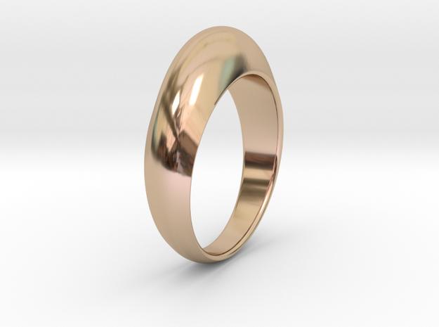 Ø0.674 inch Streamlined Ring Model B Ø17.13 mm in 14k Rose Gold Plated Brass