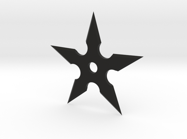 Shuriken 5 Point Throwing Star in Black Natural Versatile Plastic