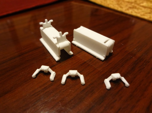 Sheds and buffers 3d printed Two sheds and two buffers