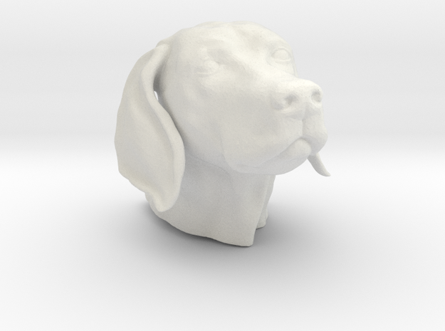 Weimaraner head hollow in White Natural Versatile Plastic