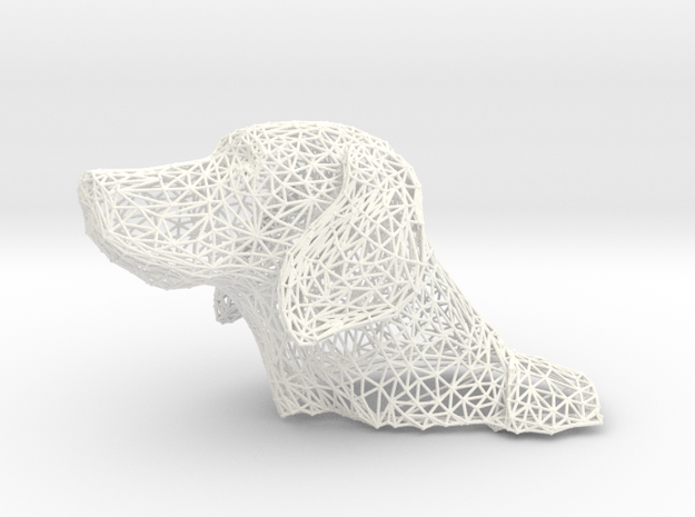 Wireframe Dog head Weimaraner in White Processed Versatile Plastic