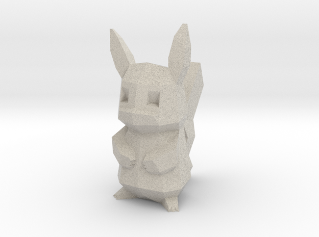 Low Poly Pikachu in Natural Sandstone