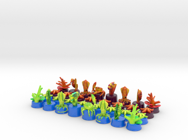 Sea Chess Pieces 3d printed