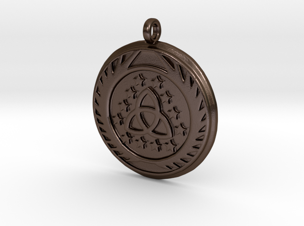 [The 100] (Small) Skaikru Symbol Pendant in Polished Bronze Steel