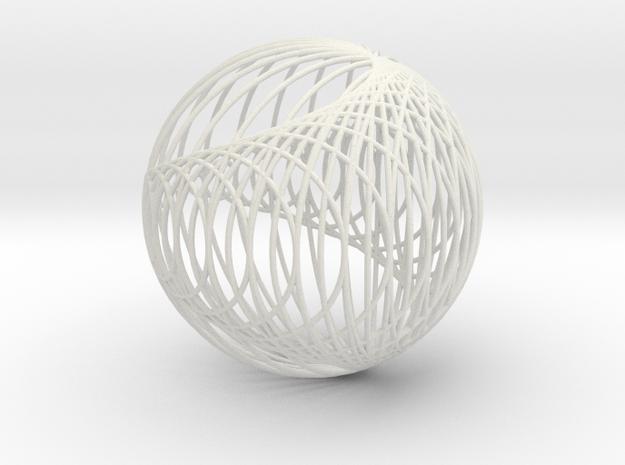 Cardioid Sphere 1 in White Natural Versatile Plastic