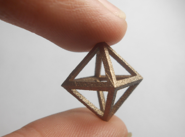 Faceted Minimal Octahedron Frame Pendant Small in Polished Bronzed Silver Steel