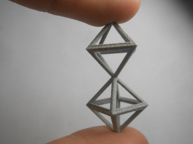 Faceted Twin Octahedron Frame Pendant Small in Metallic Plastic
