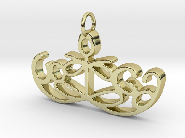Yoga Glee Pendant Symbol and Text in 18k Gold Plated Brass