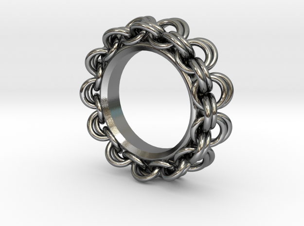 Chainmail Ring Pendant in Polished Silver