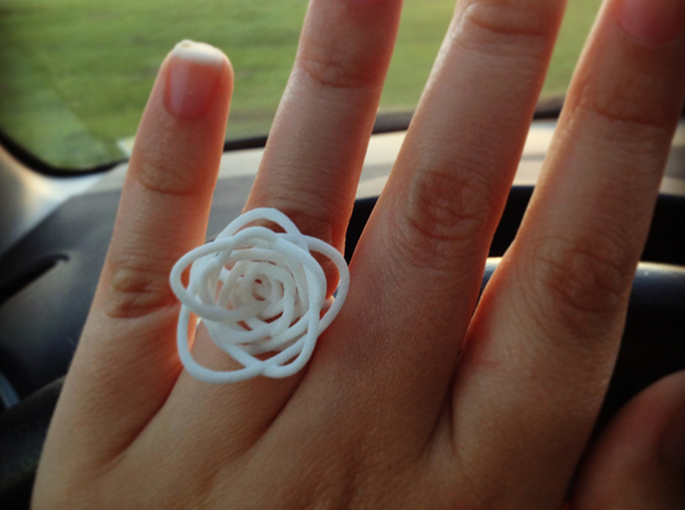 Sprouted Spiral Ring (Size 7) 3d printed White Strong & Flexible