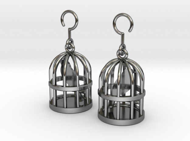 Birdcage Earrings in Fine Detail Polished Silver
