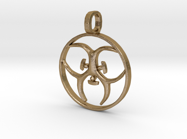 [The 100] (Small) Trigedakru Symbol Pendant in Polished Gold Steel