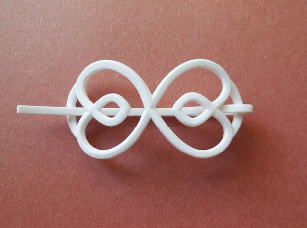 Hearts Shawl Pin in White Strong & Flexible Polished