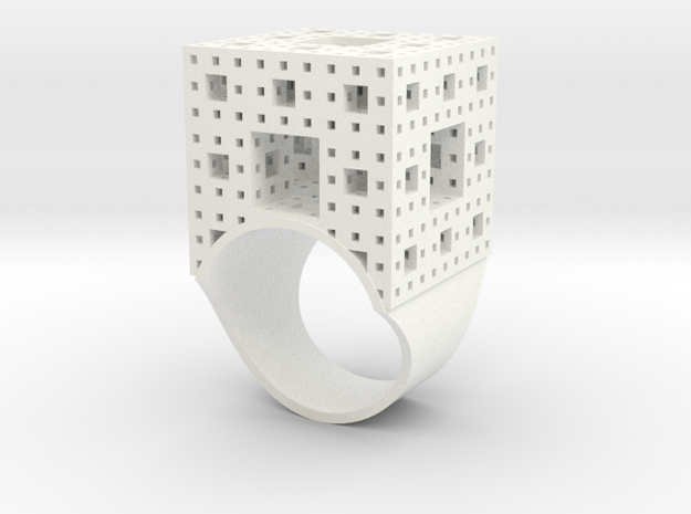Menger Ice Cube Ring - 21mm Diameter 3d printed