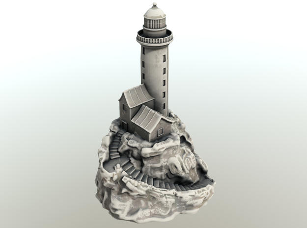 Lighthouse on a rock in White Natural Versatile Plastic
