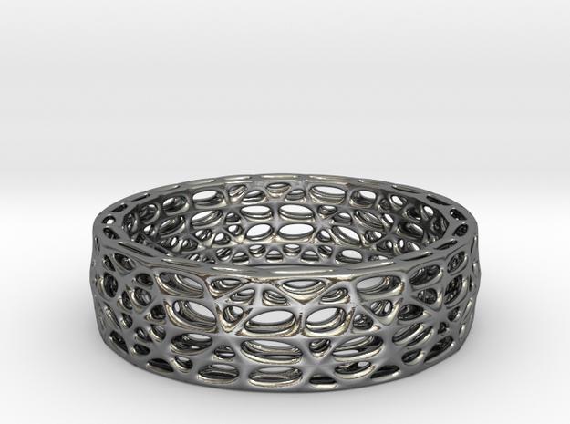 Voronoi Bracelet 65mm (002) in Polished Silver