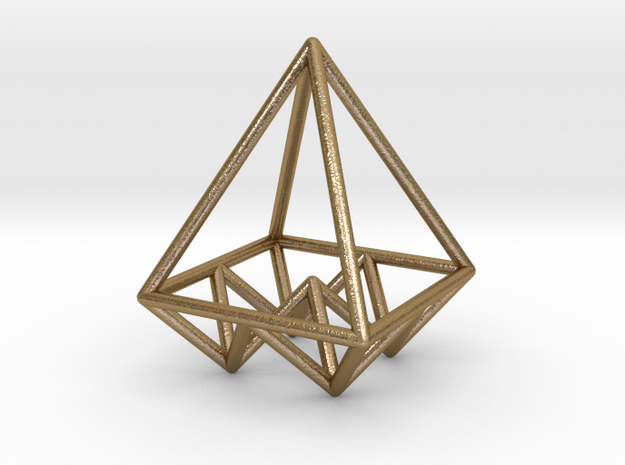 Pyramids Pendant in Polished Gold Steel