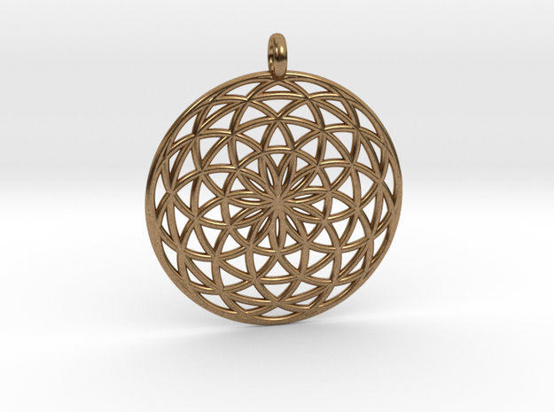 Flower of Life - Pendant 3 in Natural Brass