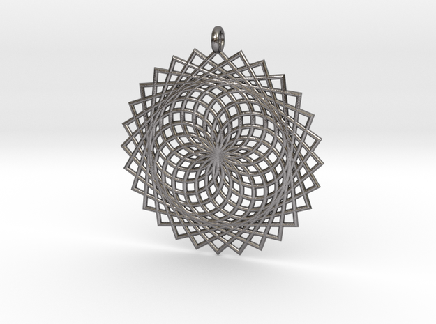 Flower of Life - Pendant 2 in Polished Nickel Steel