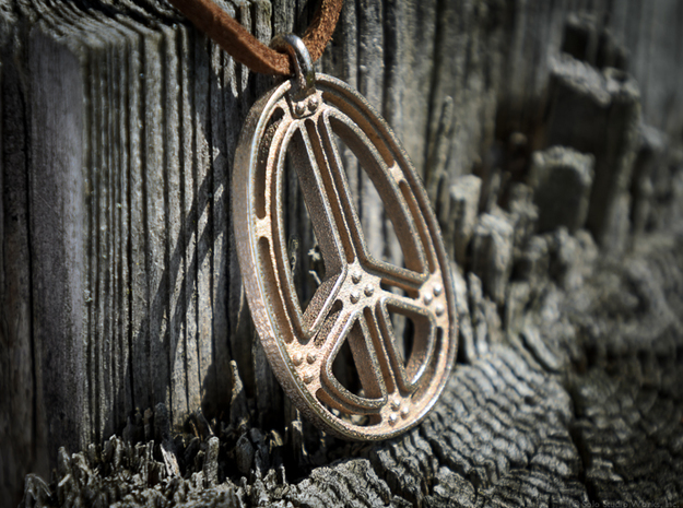 Peace Connection in Polished Bronzed Silver Steel
