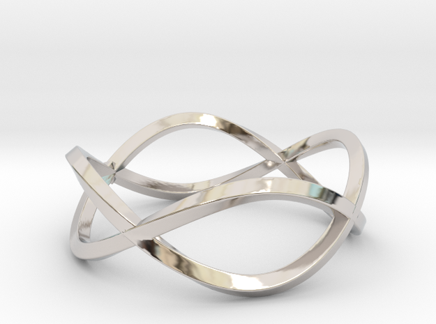 Size 6 Infinity Twist Ring in Rhodium Plated Brass