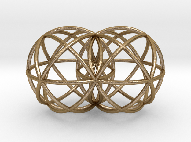 "Genesis Spheres 2""x3"" in Polished Gold Steel"