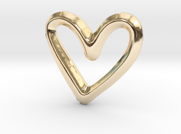 Open Heart Charm - 11mm in 14K Yellow Gold