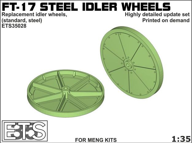 ETS35028 - FT17 - Steel Idler Wheels  [1:35] in Smooth Fine Detail Plastic