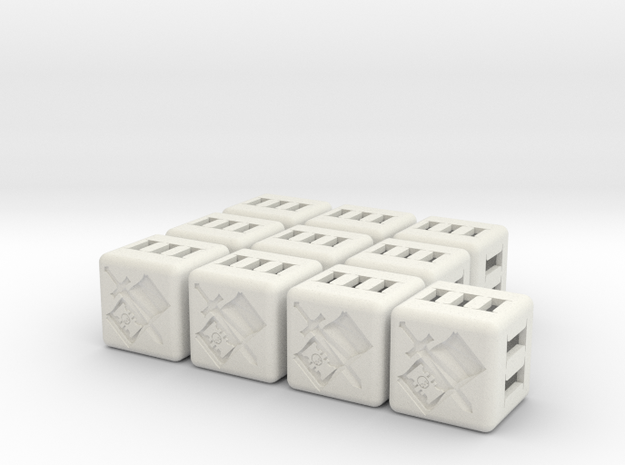 Grey Knights Dice - 10 pack in White Natural Versatile Plastic