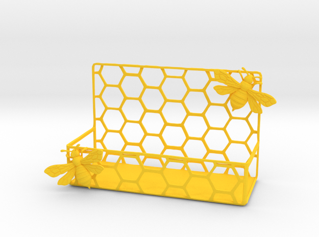 Honey Bee Card Holder in Yellow Processed Versatile Plastic