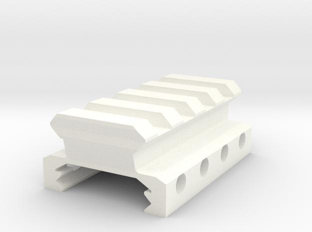 12mm High 4 Slots Picatinny Riser in White Processed Versatile Plastic