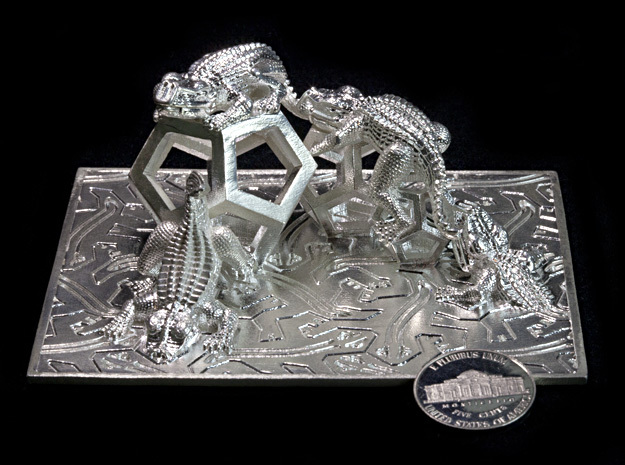 Reptiles & Dodecahedra mini sculpture Fine Art. in Natural Silver