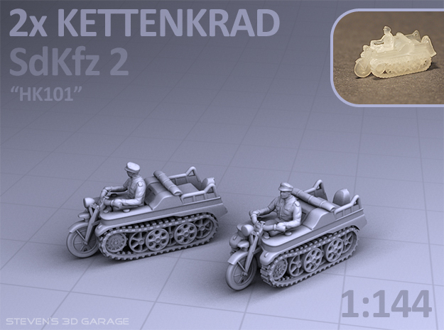 Sd.Kfz 2 - KETTENKRAD  (2 pack) in Smooth Fine Detail Plastic