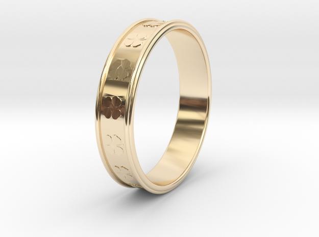 Ø0.781 inch/Ø19.84 Mm Clover Ring in 14k Gold Plated Brass