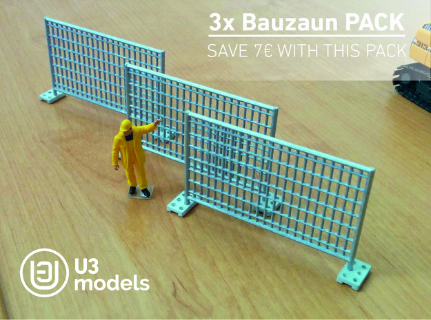 3X Pack 1:50 Bauzaun / Construction fence