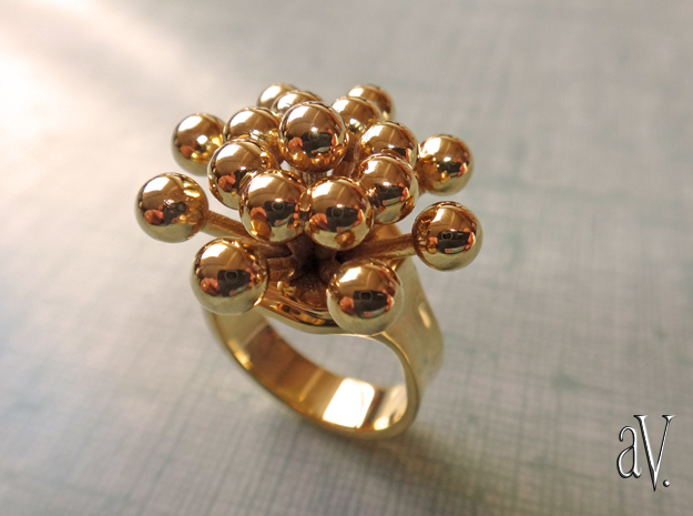 Bulbs Spray Ring in 14k Gold Plated: 12 / 66.5