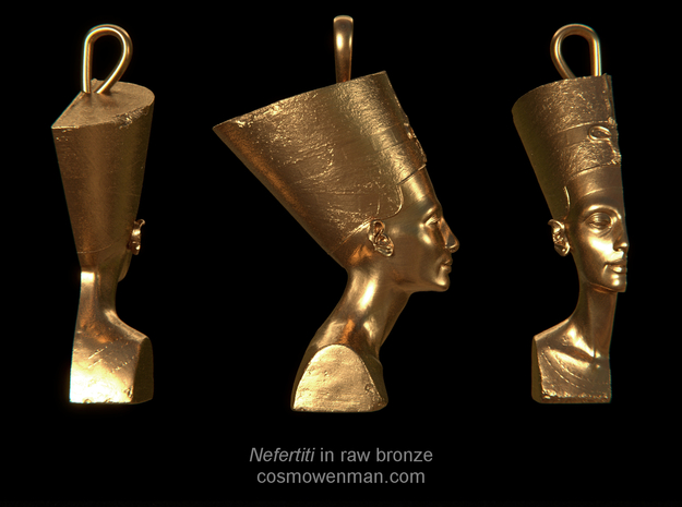 Nefertiti necklace pendant in Raw Bronze