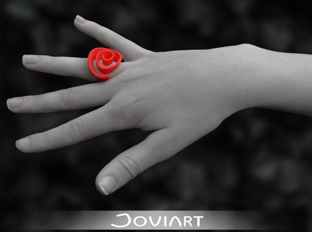Curly Rose Ring 18.5mm in Red Processed Versatile Plastic