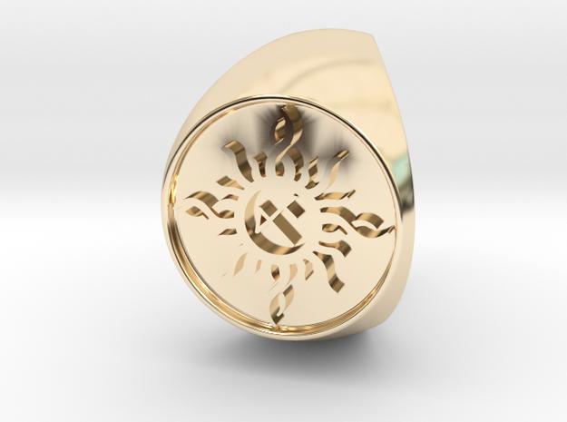 Custom Signet Ring 22 in 14k Gold Plated Brass