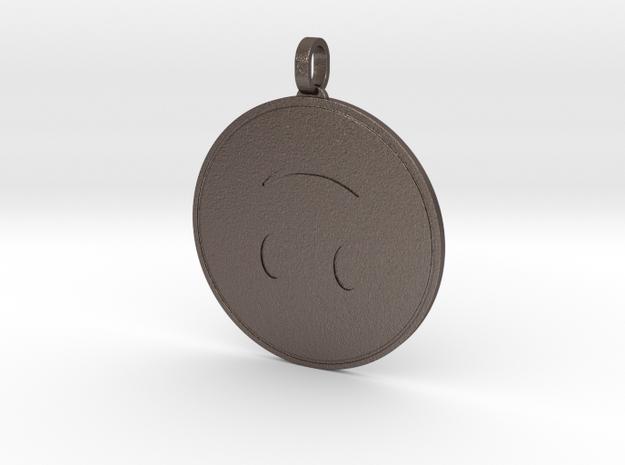 Upside Down Emoji Keychain in Stainless Steel