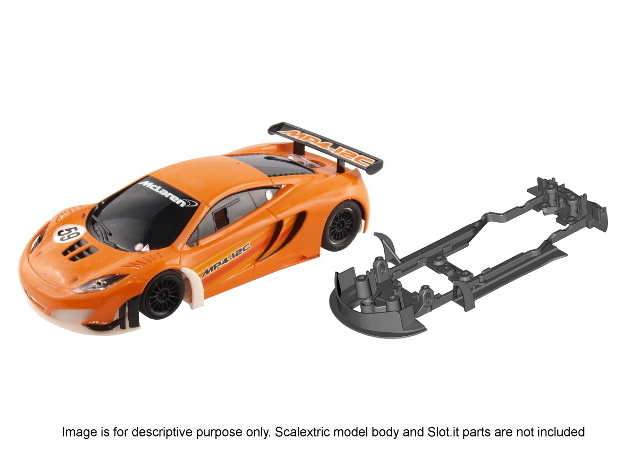 S09-ST4 Chassis for Scalextric McLaren GT3 SSD/STD in White Processed Versatile Plastic